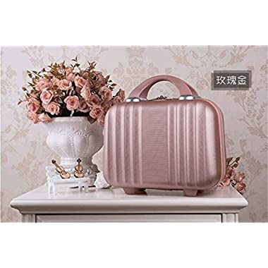 Bilateral Stripe Typ ABS Polychrome Mini Travel Luggage For Princess Girls Or Women lady (Rose Gold)