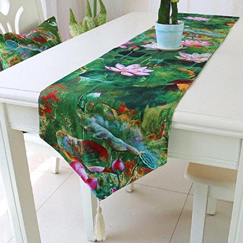 LDONGPENG LD&P Couvercle de Table en Lin à Motifs Verts Maison Nappe de l'hôtel Table Basse Tablette Drap Housse de Mariage,Green,32 * 180cm