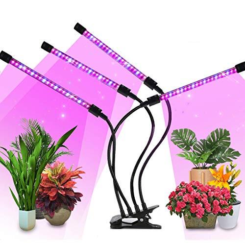 Pflanzenlicht LED, VIFLYKOO 4 Köpfe Pflanzenlicht 40W 80 LED mit Automatische Zeitschaltuhr 3H/6H/12H,10 Arten von Helligkeit und 3 Arten von Modus für Zimmerpflanzen Gartenarbeit Gewächshaus