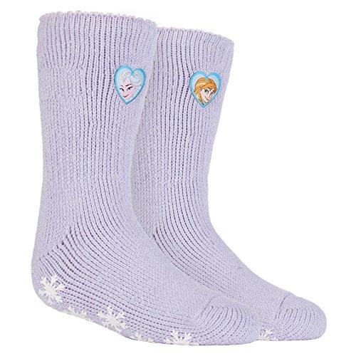 HEAT HOLDERS - Las mujer y niñas personajes de Disney térmica antideslizantes calcetines Calcetines tapón en 5 Diseños (27-31 Eur, 9-12 UK, Frozen Elsa/Arna)