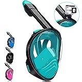 QingSong Full Face Snorkel Mask, Snorkeling Mask with Detachable Camera Mount, 180 Degree Panoramic View Anti-Fog Anti-Leak Snorkel Set...