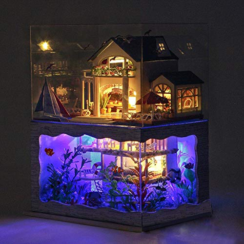 DIY Dollhouse Miniature Kit with Furniture, Miniature Dolls House kit Creative Gift Doll Warm Cozy House Micro Landscape Model Ornaments Assembled House Model With LED Lights,