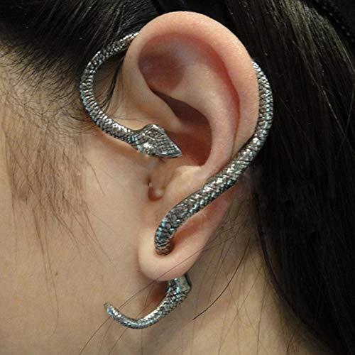 feichang Pendientes vintage de serpiente espiritual para mujeres y hombres, con clip de oreja, estilo punk rock punk para cartílago, joyería (Color de metal: plata)
