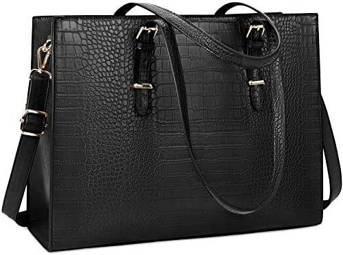 Laptop Bag for Women 15 6 inch Laptop Tote Bag Leather Classy Computer Briefcase for Work Waterproof product image