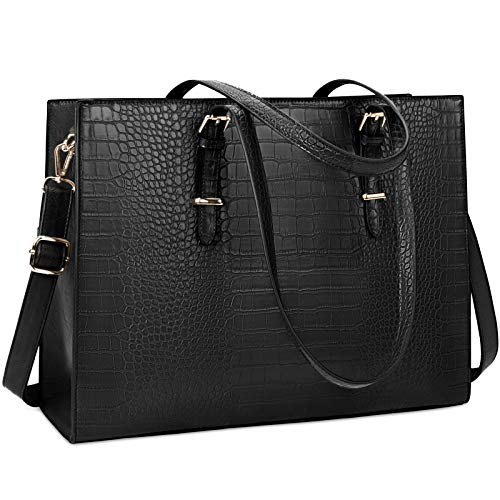 Laptop Bag for Women 15.6 inch Laptop Tote Bag Leather Classy Computer Briefcase for Work Waterproof Handbag Professional Shoulder Bag Women Business Office Bag Large Capacity Black