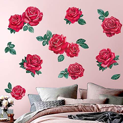 decalmile Pegatinas de Pared Flor Rosa Roja Vinilos Decorativos  Flor Plantas Adhesivos Pared Niña Dormitorio Salon Baños