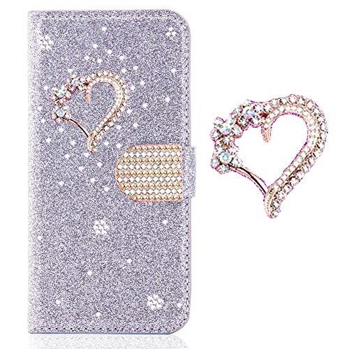 Magnetverschluss Bookstyle für Huawei P20 Lite,Diamond Sparkle Funkeln Bling Glitzer Leder Stand Funktion Kartenfach Slim Klassisch Flip Wallet Hülle