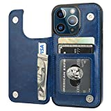 ONETOP Compatible with iPhone 13 Pro Wallet Case with Card Holder, PU Leather Kickstand Card Slots Case, Double Magnetic Clasp Durable Shockproof Cover 6.1 Inch(Blue)