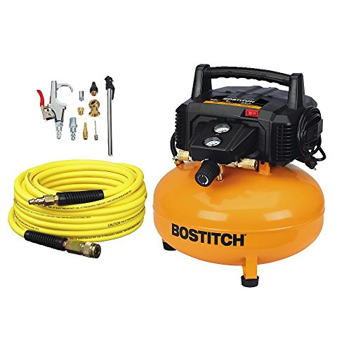 BOSTITCH Air Compressor Kit with Hose and Fittings – Oil-Free – 6 gal. – 150 PSI