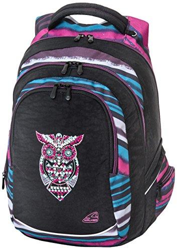 Walker 42100-080 Rucksack Fame Dark Owl, mit 3 Fächern, Seitentaschen, atmungsaktive Polster, verstellbarem Hüft-, Schulter- und Brustgurt, ca. 32 x 44 x 24 cm, 32 Liter