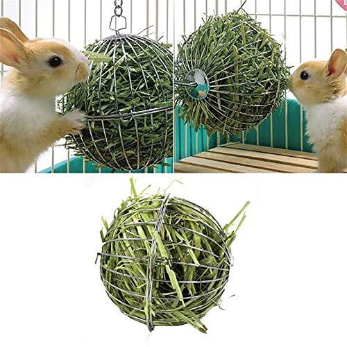 QWSX Outils d'alimentation pour volaille Pet Supplies Rabbit Guinée Pig Pet Hamster Suppliy 2019 Nouveau Mangeoire Alimentaire Boule Acier Inoxydable Placage Herbe Rack à Billes Robinet pour Animaux