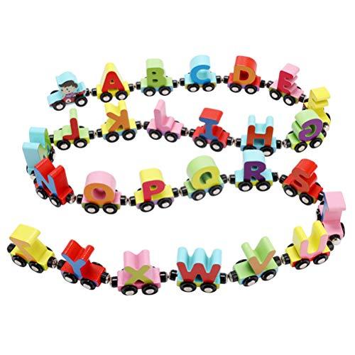 SUPVOX Magnetische Zug Holz Alphabet Zug Spielzeug Kinder Frühe Lernspielzeug Pädagogische Spielzeug 27 Stück