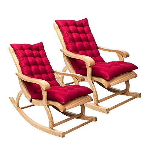 Coussin de chaise berçante, Coussin de chaise longue à dossier haut, Coussin fauteuil jardin epaissi, Rocking chair coussin 3D, Coussin pour chaise à bascule, fauteuil, sièges d'auto (Vin rouge, 2Pcs)