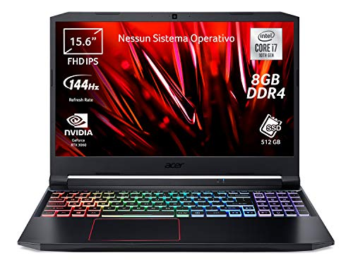 Acer Nitro 5 AN515-55-71UB PC Gaming Portatile, Processore Intel Core i7-10750H, Ram 8 GB DDR4, 512 GB SSD, Display 15.6' FHD IPS 144 Hz LED LCD, NVIDIA GeForce RTX 3060 6 GB, Nessun Sistema Operativo