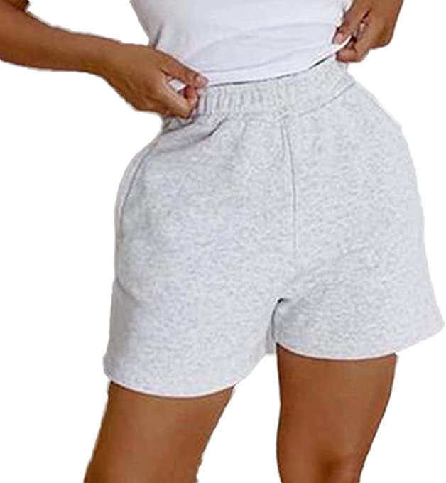 Awoscut Womens Athletic Workout Shorts Elastic Waist Pull-On SweatShorts Running Lounge Wear with Pockets