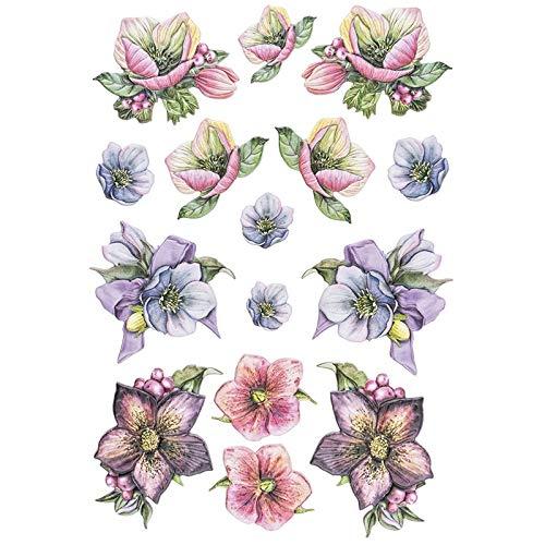 Stickerbogen 3-D Relief-Sticker | Aufkleber | Hochwertig geprägt mit 3-D-Effekt | Din A4 Bogen mit verschiedenen Motiven (Blumen 2)
