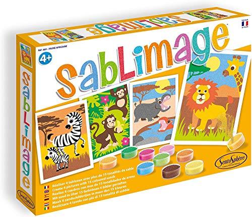 Sentosphere 80881 - Sandbilder: Tiere in Afrika, Set mit 4 Bildern, 16 Dosen und Farbsand, 25 x 18 cm