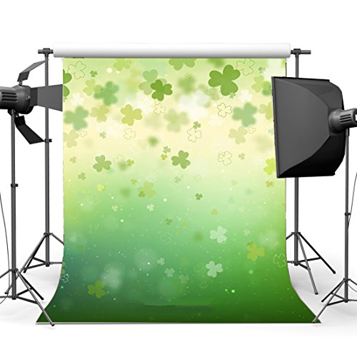10x10ft Happy St Patricks Day Photography Backdrop Saint Patricks Day Background Lucky Irish Clover Green Four Leaf Clover Shamrock Green Background Children Baby Adults Portraits