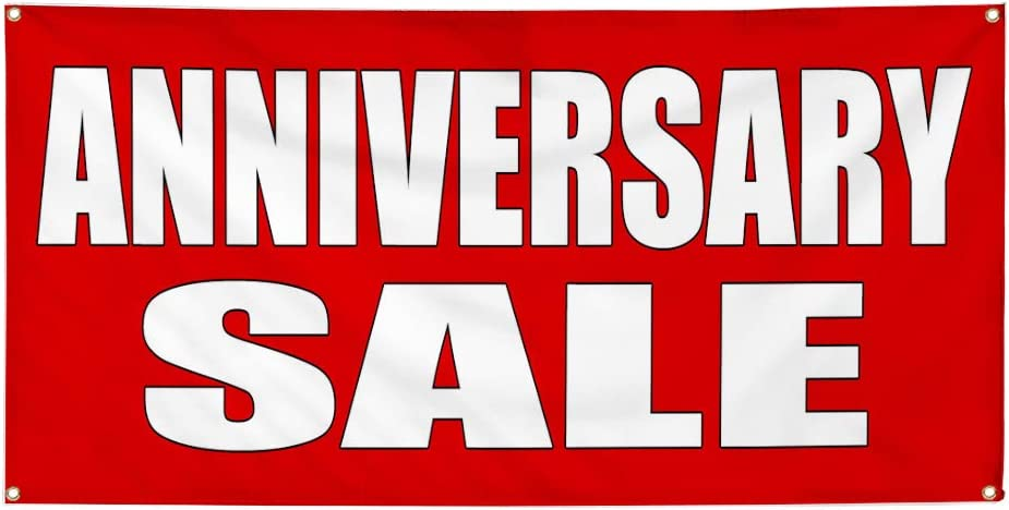 Vinyl Banner Multiple Sizes Anniversary Sale Promotion Business Business Outdoor Weatherproof Industrial Yard Signs Red 8 Grommets 48x96Inches