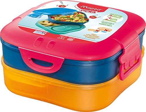 Maped 870701 Concept Kids Snack-Dose, Brot, Lunch-Box 3in1-1,4 l-pink, 1.400 ml