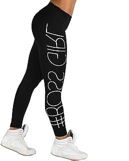Han Shi Yoga Leggings, Women Colorful Letter Print High Waist Sports Gym Fitness Pants