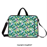 AngelDOU Laptop Sleeve Notebook Bag Case Messenger Shoulder Laptop Bag Exotic Jungles of Hawaii Inspired Fresh Green Leaves Tropical Plants Art Compatible with MacBook HP Dell Lenovo Green Whit