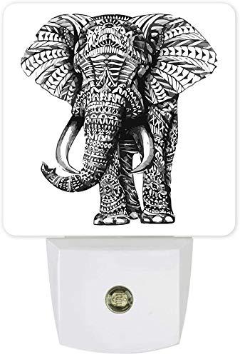 Elefante texturizado Paquete de 2 luces nocturnas para niños Lámpara de pared LED Sensor del atardecer al amanecer, pintado a mano Vaca Kyloe Luz nocturna gris animal para baño Vivaio Dormitorio
