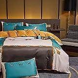 Funda De EdredóN 150,Luz de estilo nórdico Luz de lujo lavado Seda de seda, juego de cuatro piezas, soleado de verano, cama para el hogar, ropa de cama para edredones-K_1,8 m de cama (4pcs)
