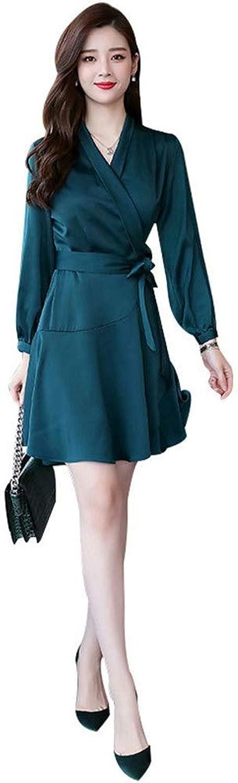 Women Ladies Dress V Neck Long Sleeve Solid Swing ALine Dress with Belt Fit & Flare Dress Smooth Shirt Dresses Short Mini Dress (color   Green, Size   L)