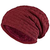 ALPIDEX Gorro Punto Tipo Beanie Invierno Mujer Hombre Slouchy Beanie Gorro Tejido Caliente Forro Polar Interior, Color:Bordeaux