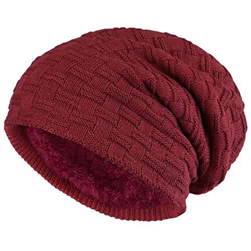 ALPIDEX Slouch Beanie Warme Wintermütze Strick Mütze Weiches Fleecefutter Damen Herren Winer Beanie, Farbe:Bordeaux