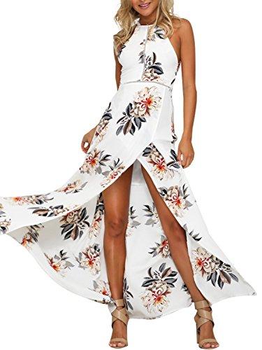Simplee Apparel Damen Chiffon Maxikleid Elegant Blumen Ärmlos Rückenfrei Split Lang Kleid Strandkleid Weiß