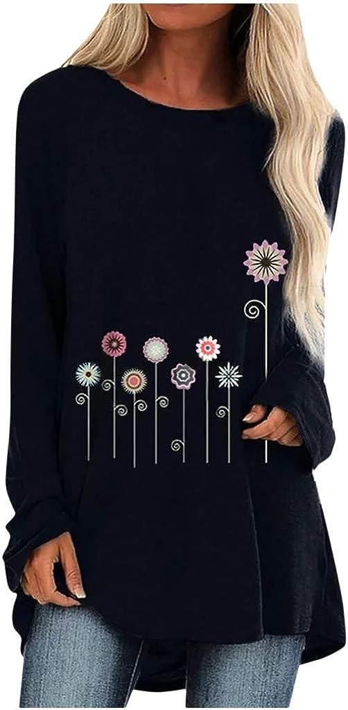 SALIFUN Women's Tunic Shirts Long Sleeve Comfy T Shirts Fashion Dandelion Print Pullover Loose Tunics Long T-Shirt Tops