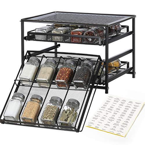 NEX Spice Rack Organizer, 3 Tier 24-Bottle Metal Spice Kitchen Cabinet Countertop Drawer Organizer Storage, Brown