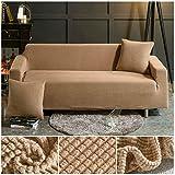 ASCV Funda de sofá de Tela de Forro Polar elástico Fundas de sofá de Color sólido para Sala de Estar Funda de sofá seccional Fundas de sofá A9 2 plazas