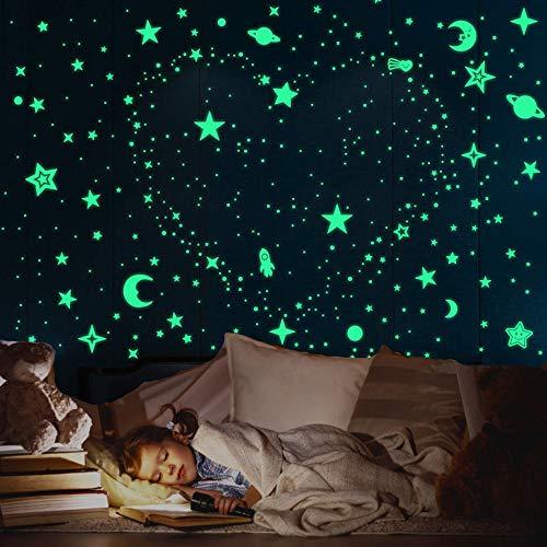 Leuchtsticker Wandtattoo Leuchtsterne selbstklebend, 508pcs Leuchtsterne Punkten und Mond Wandsticker, sternenhimmel kleben leuchtsticker kinderzimmer