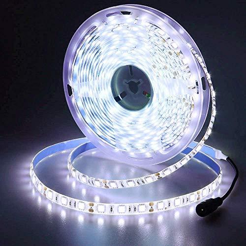 JOYLIT 12V Tiras LED Iluminación Blanco frío 300 LEDs SMD5050, 5M IP65 Impermeable 6000-6500K Luces LED para Armario, Dormitorio, Muebles, Cocina