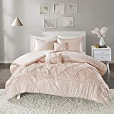 Intelligent Design Adele Ultra Soft Microfiber Metallic Print Bed Comforter Set Twin XL Size, Twin/Twin, Blush, Gold
