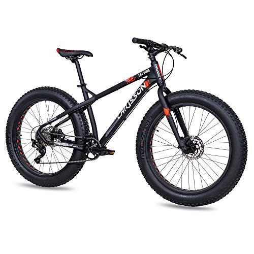 CHRISSON 26 Zoll Fatbike Mountainbike - Fat Four schwarz-rot - Hardtail Fat Tyre Mountain Bike, Fahrrad mit 4.0 fette Reifen und 10 Gang Shimano Deore Schaltung