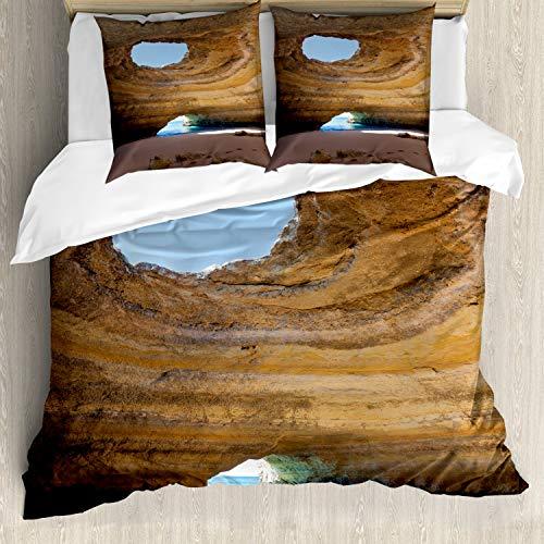 ABAKUHAUS Grot Dekbedovertrekset, Sea Cave Benagil Portugal, Decoratieve 3-delige Bedset met 2 Sierslopen, 155 cm x 220 cm, Sand Brown Pale Blue