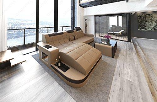 Sofa Dreams Designer Ledersofa Wave in der L Form als modernes Ecksofa