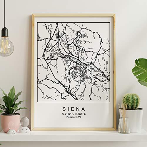 Nacnic Lámina Mapa de la Ciudad Siena Estilo nordico en Blanco y Negro. Poster tamaño A3 Sin Marco Impreso Papel 250 gr. Cuadros, láminas y Posters para Salon y Dormitorio