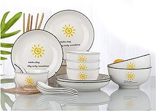 Nadalan Simple 2-6 People Cutlery Set Kitchen Restaurant Ceramic Bowl Set Chinese Dinner Plate Rice Bowl Soup Bowl 28-piec...