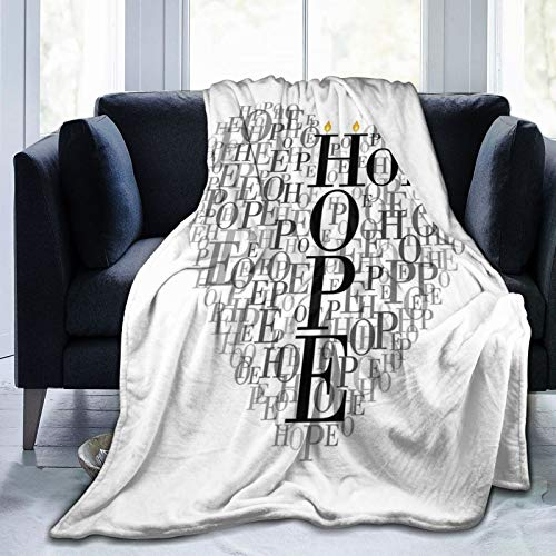HUAYEXI Flannel Fleece Soft Throw Blanket,Heart Shaped Hope Words Romantic Illustration With Candles,for Settees/Sofa/Chairs/Couch Lightweight,Warm and Cozy(153x127cm)