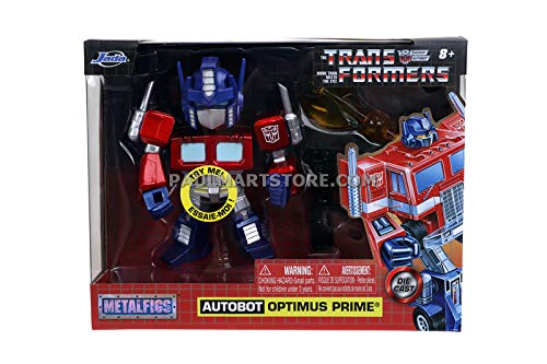 """Transformers G1 Optimus Prime Light-Up 4"""" Die-cast Metal Collectible Figure, Toys for Kids and Adults"""