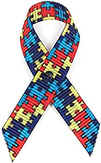 250 USA Made Autism Fabric Awareness Ribbons - Bag of 250 Fabric Ribbons with Safety Pins (Many Colors Available)