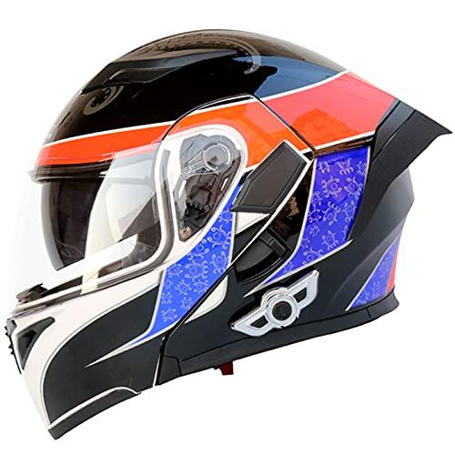 HVW Casco Bluetooth para Motocicleta, Casco Motocicleta abatible Modular Cara Completa Visera Doble antivaho 3000 Mah Aprobado por Dot/ECE Casco Ligero Motocross para Carreras,C,M57to58cm