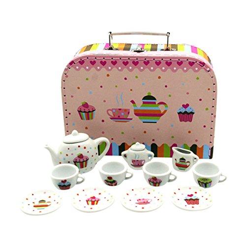Gico GICO Tee Service Set für Kinder im Koffer aus Hartpappe mit Porzellangeschirr 14 -TLG - Cupcakes-