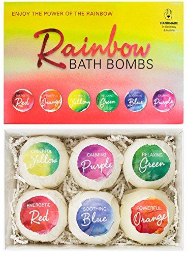 BRUBAKER Cosmetics - Bombes de bain/Boules effervescentes - 6 Pièces - Coffret cadeau 'Rainbow' - Fait main - Végan - Ingrédients naturels