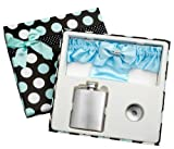 3oz Blue Garter Belt Hip Flask with Gift Box for Weddings, Free Engraving!